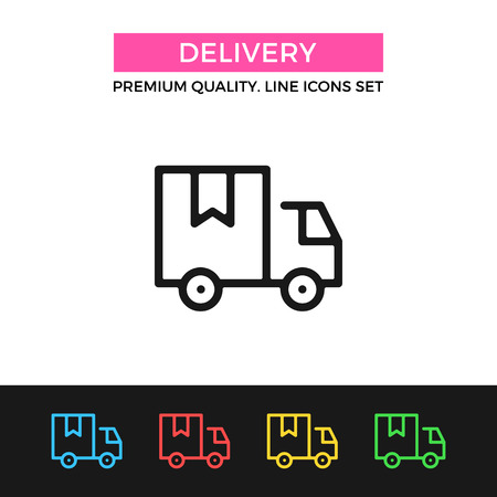 delivery icon: Vector delivery icon. Thin line icon