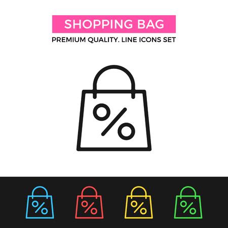 shopping malls: Vector shopping bag icon. Thin line icon