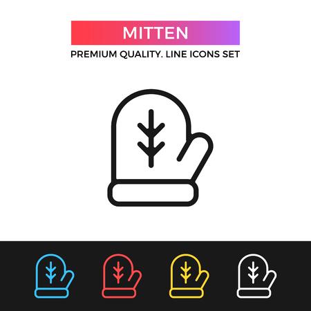 mitten: Vector mitten icon. Thin line icon