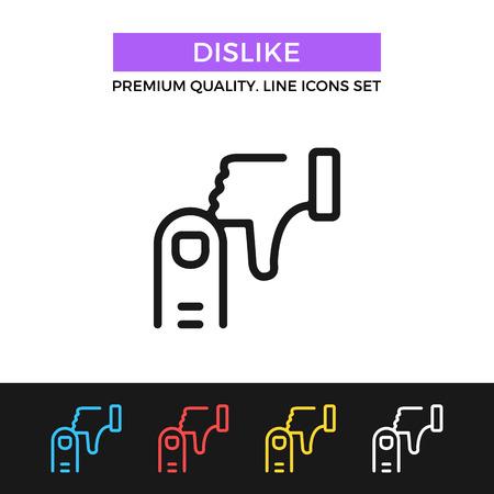 disapprove: Vector dislike icon. Thin line icon