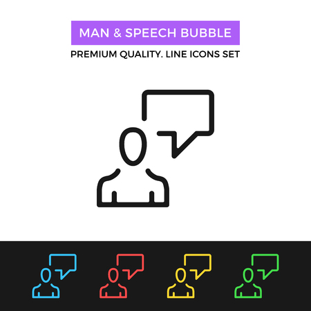 instant messaging: Vector man and speech bubble icon. Thin line icon