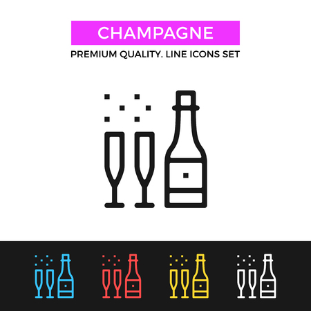 sparkling: Vector champagne icon. Bottle of sparkling wine and champagne glasses. Thin line icon Illustration