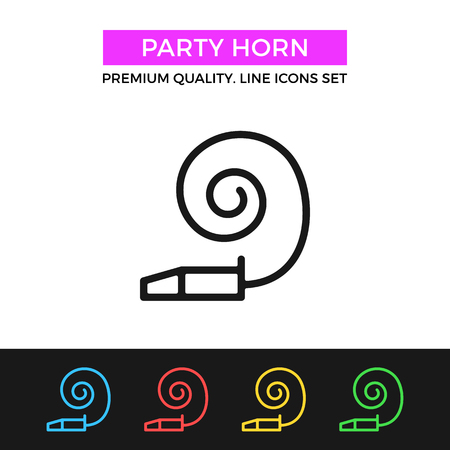 party horn blower: Vector party horn icon. Holiday, celebration concepts. Thin line icon
