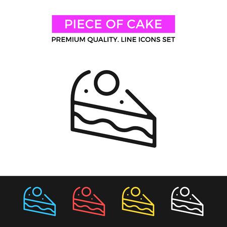 trozo de pastel: pieza del vector del icono torta. icono de línea delgada