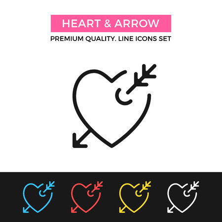 lovesickness: Vector heart and arrow icon. Romantic love, lovestruck concepts. Thin line icon