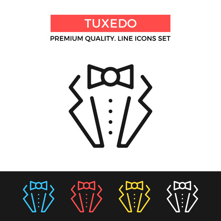man in suite: Vector tuxedo icon. Suit with bow tie concept. Thin line icon