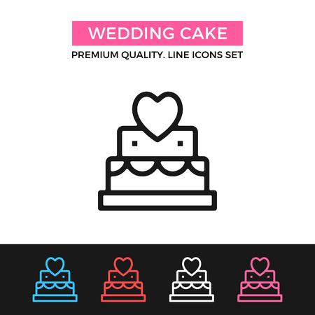 wedding cake: Vector wedding cake icon. Thin line icon