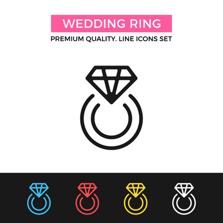 ring finger: Vector wedding ring icon. Marriage proposal concept. Thin line icon Illustration