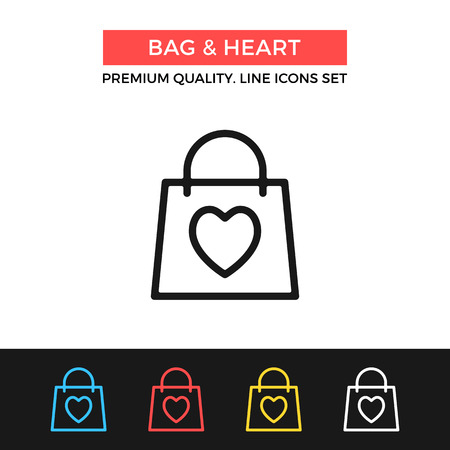 Vector bag and heart icon. Shopping, Valentine's day concept. Thin line icon