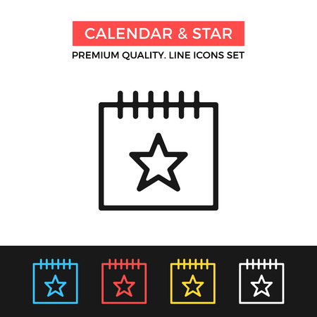 event calendar: Vector calendar and star icon. Important event concept. Thin line icon