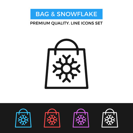 shopping malls: Vector bag and snowflake icon. Winter shopping concepts. Thin line icon