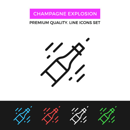 popping cork: Vector champagne explosion icon. Thin line icon Illustration