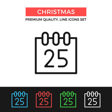 december 25th: Vector Christmas icon. Calendar with December 25. Christmas day concept. Thin line icon Illustration