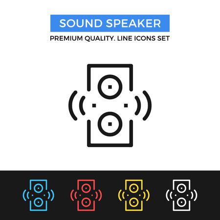 Vector sound speaker icon. Thin line icon