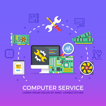 computer icons: Computer repair, computer service. Flat design graphic elements, signs, line icons set. Premium quality. Modern concepts for web banners, websites, infographics, printed materials. Vector illustration