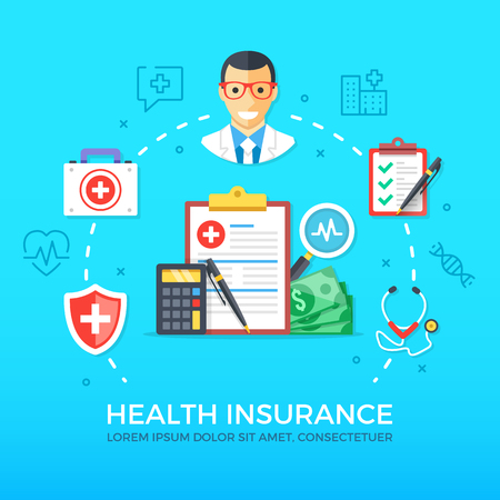 healthcare and medicine: Health insurance. Healthcare, medicine. Flat design graphic elements, line icons set. Premium quality. Modern concepts for web banners, websites, infographics, printed materials. Vector illustration Illustration