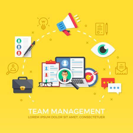 Team management. Human resources. Flat design graphic elements, symbols, line icons set. Premium quality. Modern concept for web banners, websites, infographics, printed materials. Vector illustration Illustration