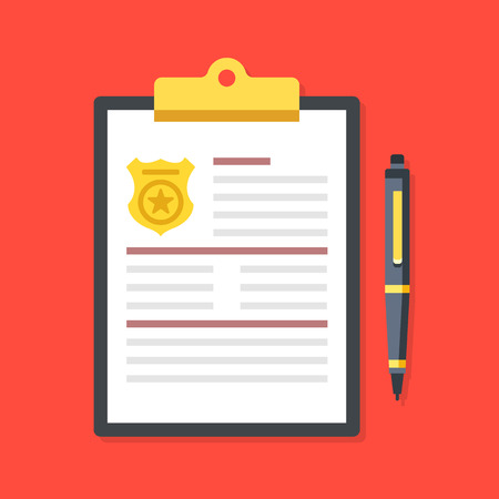 filling folder: Clipboard with police badge and pen. Police report, fine, penalty notice, order concepts. Premium quality. Top view. Modern flat design graphic elements. Vector illustration