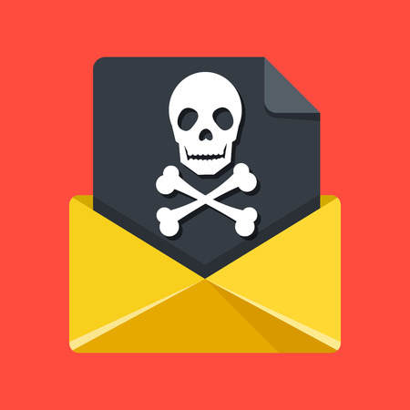 attachments: Envelope and document with skull and crossbones. Online scam, phishing, virus, internet fraud, spam concepts. Premium quality. Modern flat design graphic elements. Vector illustration Illustration