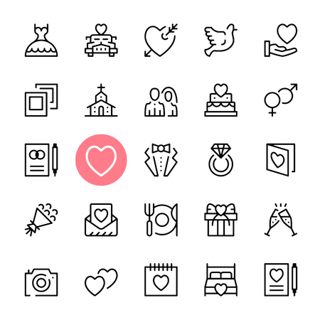 web icons: Vector wedding icons set. Premium quality graphic design. Marriage concepts. Modern signs, trendy symbols collection, simple thin line icons set for websites, web design, mobile app, infographics
