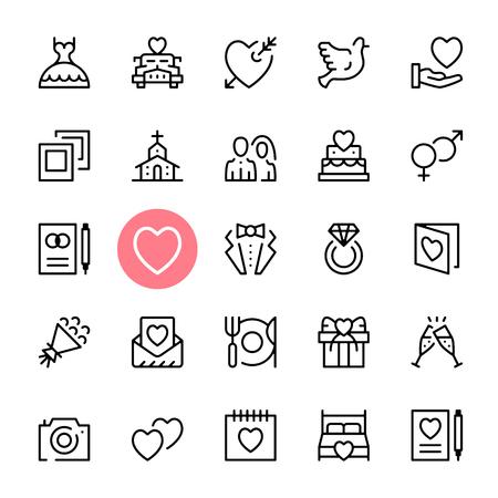 Wektor zestaw ikon ślubnych. Najwyższa jakość projektowania graficznego. koncepcja małżeństwa. Nowoczesne trendy kolekcji znaki, symbole, ikony proste linie cienkie ustawione dla stron internetowych, projektowanie stron internetowych, aplikacji mobilnych, infografiki