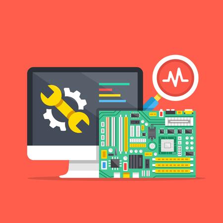 computer repair: Computer repair, computer service, diagnostics concepts. Premium quality. Modern flat design graphic elements. Vector illustration