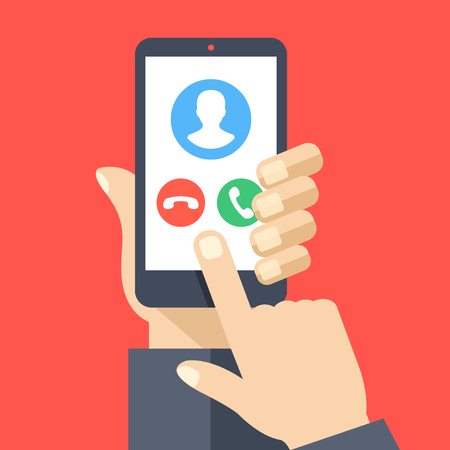 Smartphone with incoming call screen. Hand holding smartphone, finger touching screen. Accept or reject call. Modern concepts. Flat design vector illustration