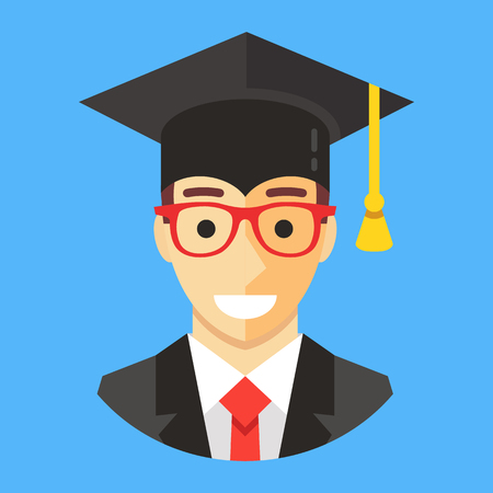 Smiling graduate student wearing mortarboard. Happy man with square academic cap. Graduation concepts. Modern flat design vector illustration Illustration