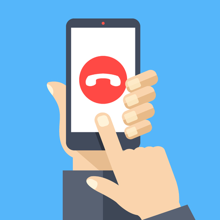 web screen: Decline phone call button on smartphone screen. Hand holding smartphone, finger touching screen. Reject call. Modern concept for web banners, web sites, infographics. Flat design vector illustration