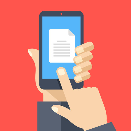 Document icon on smartphone screen. Hand holding smartphone, finger touching document on screen. Read, download file with mobile phone concept. Modern flat design graphic elements. Vector illustration