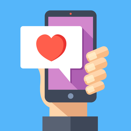confession: Hand holding smartphone with heart emoji message on screen, like button. Love confession, like. Social network and mobile device. Graphics for websites, web banners. Flat design vector illustration Illustration