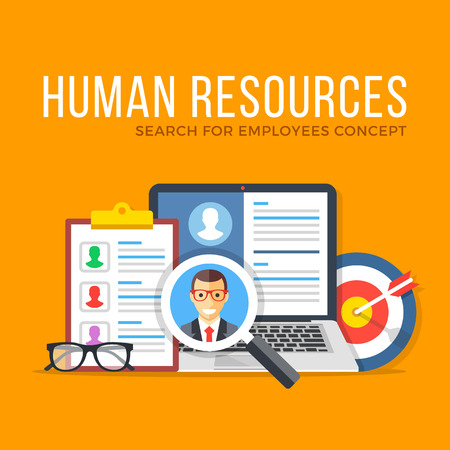 staffing: Human resources. Search for employees. Flat design graphic elements set. Modern concepts for web banners, websites, infographics, printed materials. Vector illustration Illustration