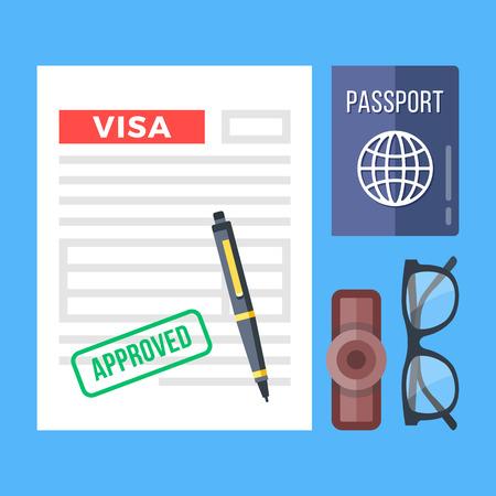tarjeta visa: Solicitud de visa aprobada, pasaporte, sello, bolígrafo y lentes. Elementos gráficos de diseño plano, conjunto de iconos planos. Vista superior. Ilustración del vector