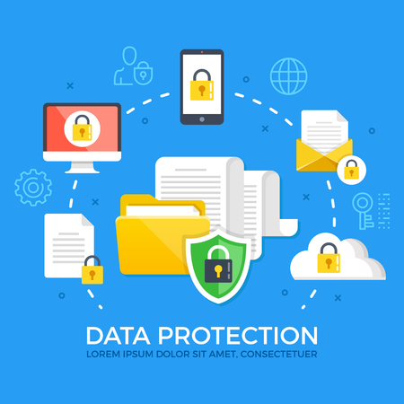 Data protection. Flat design graphic elements, signs and symbols, line icons set. Premium quality. Modern concepts. Vector illustration Illustration