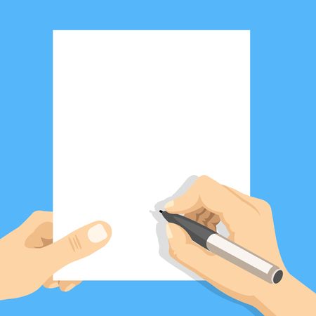 Hand holding blank sheet of paper and hand with pen. Modern flat design vector illustration Vettoriali