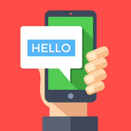 instant message: Hand holding smartphone with hello message on screen. Instant messaging, IM, SMS text messaging, online chat concept. Modern graphic elements. Flat design vector illustration Illustration