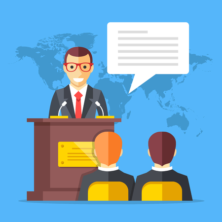 ceo office: Press conference. Man standing at rostrum with microphones in auditorium with people, world map on background. Flat design graphics. Vector illustration Illustration