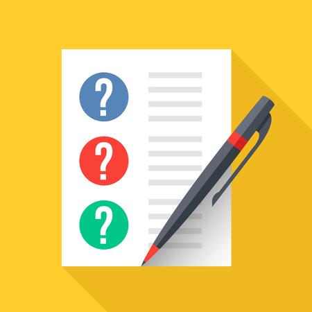 疑問符とペンを文書化します。シート紙の質問のチェックリストです。テスト、試験、クイズの概念。フラット デザイン グラフィック要素です。ベ
