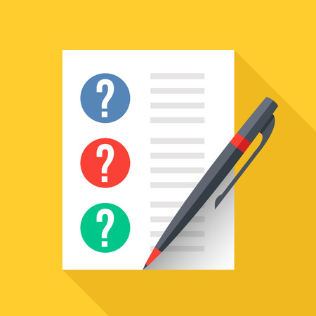 Document with question marks and pen. Sheet of paper and checklist with questions. Test, exam, quiz concepts. Flat design graphic elements. Vector illustration