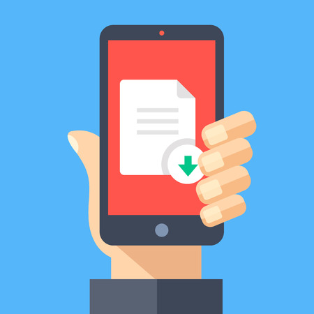 phone button: Downloading document with mobile phone concept. Hand holding smartphone with document icon or file icon and download button on screen. Modern flat design graphic elements. Creative vector illustration