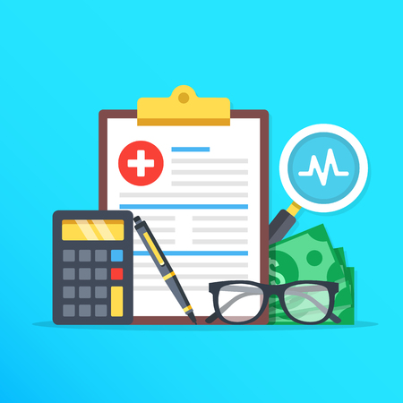 Health insurance, healthcare concept. Health insurance form, calculator, pen, glasses, money, magnifier flat design graphic elements, flat icons set. Vector illustration
