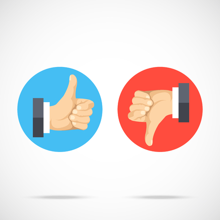 Like and dislike. Round icons set. Hands with thumbs up, thumbs down. Modern flat design graphic elements, flat icons set. Vector illustration