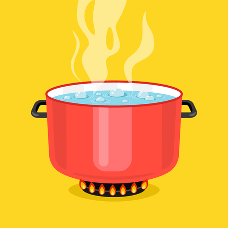 preparing food: Boiling water in pan. Red cooking pot on stove with water and steam. Flat design graphic elements. Vector illustration
