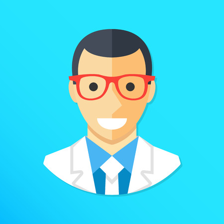 glasses icon: Doctor icon. Smiling doctor character wearing lab coat and glasses. Flat design graphic elements. Vector illustration Illustration