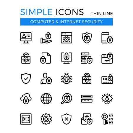 internet protection: Internet security, cybersecurity, computer protection vector thin line icons set. Illustration