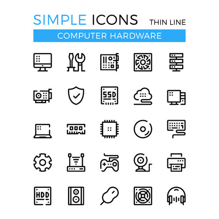 Computer hardware, PC parts and components vector thin line icons set.