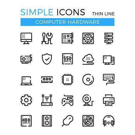 Computer hardware, pc onderdelen en componenten vector dunne lijn iconen set.