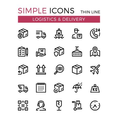 Livraisons, transport, logistique, livraison des icônes de lignes fines de vecteur.