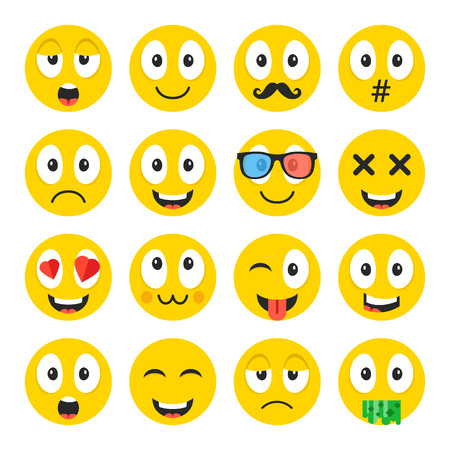anguished: Emoji set. Funny cartoon emoticons, cute smiley faces with different face expressions.