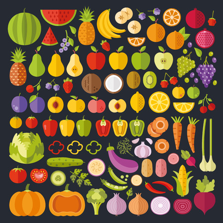 onion slice: Fruits and vegetables icons set. Modern flat design graphic art. Whole and sliced ??vegetables and fruit icons. Vector illustration